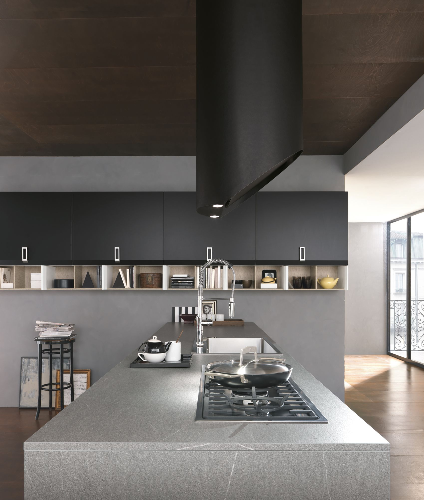 Linear kitchen with handles with peninsula Chantal by FEBAL | design ...