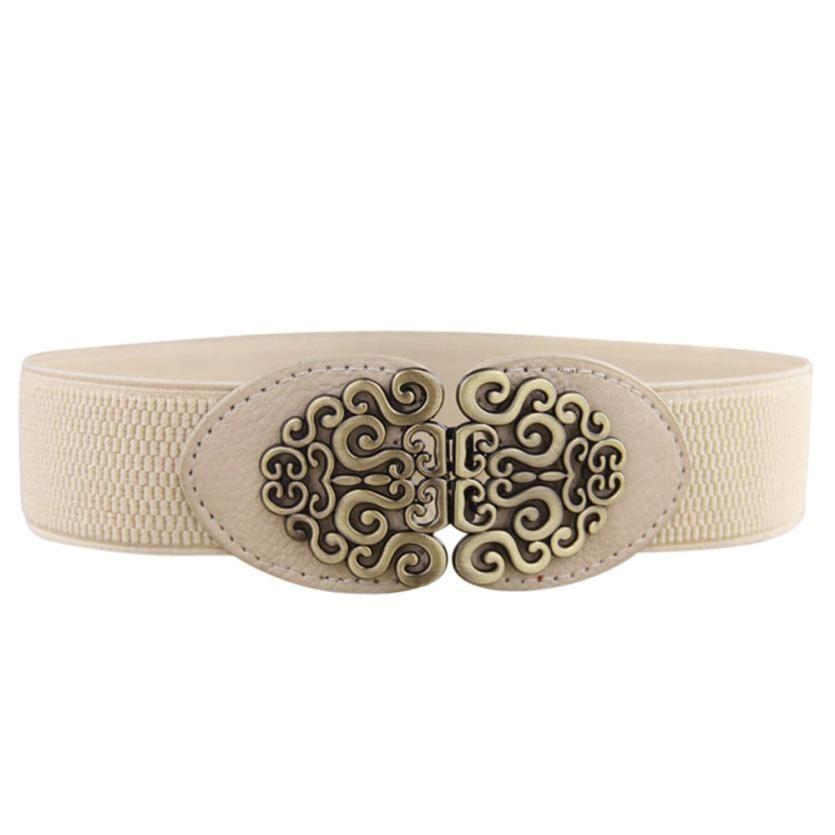 2017 New Alloy Flower Vintage Leather Belt For Women Lady