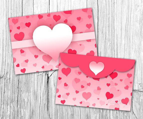 Pink Heart Envelope Valentine Envelope Template X Envelopes