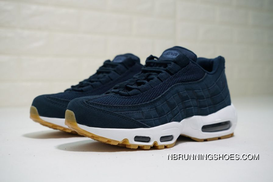 Nike Air Max 95 Premium 538416-402 Mens Running Shoes Armory Navy Blue Fox  New Release 6bf0f16d6