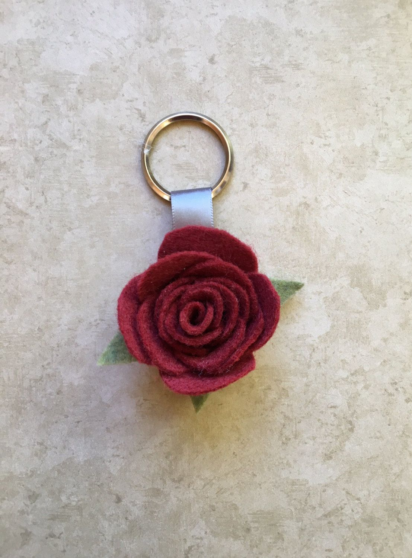 A Red Felt Rose Keychain 1 1 2 Fake Flower Felt Flower Felt Keychain Handmade Keychain Felt Leaves Felt Keychain Red Keychain Diy Roses