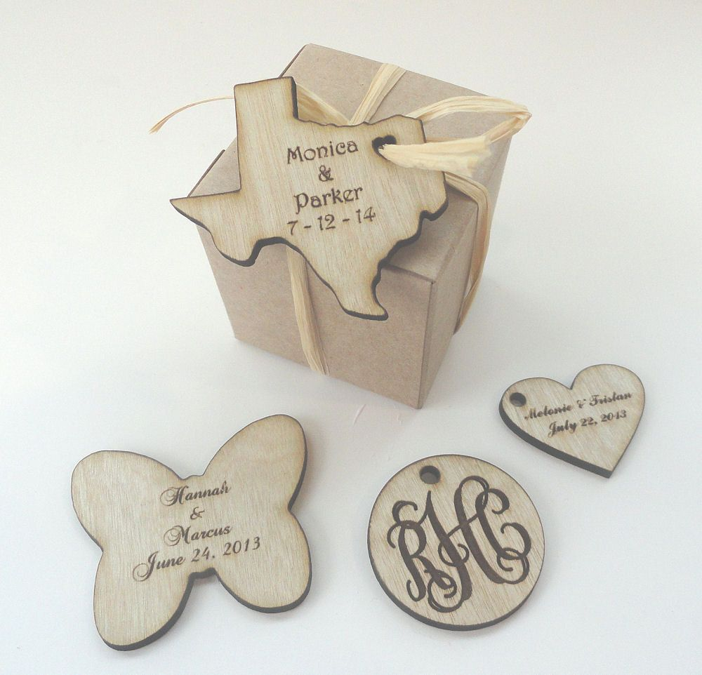 Texas shaped wood Favor Tags - Wedding Favors, Set of 25 ...