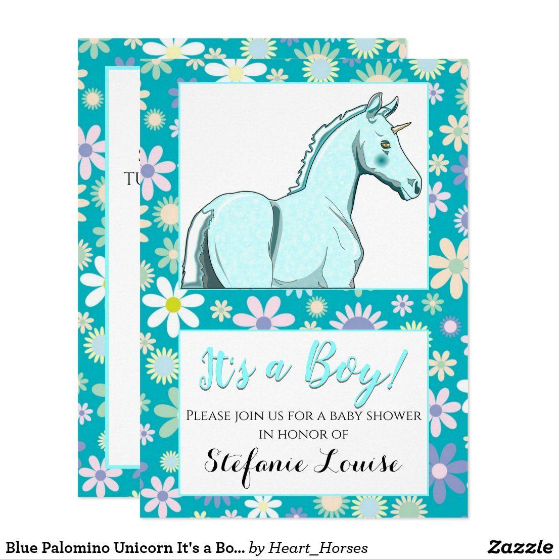 Blue Palomino Unicorn It's a Boy! (blue flowers