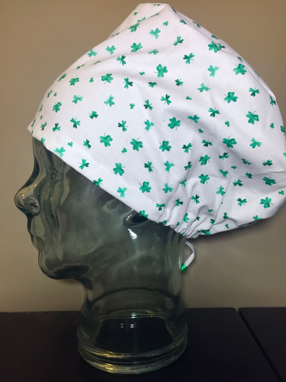 Green Watercolour Shamrock Surgical Scrub Hat 626e4a8d243