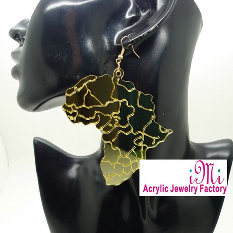 Africa Map Pendant Earrings Jewelry Hip Hop Club Accessories