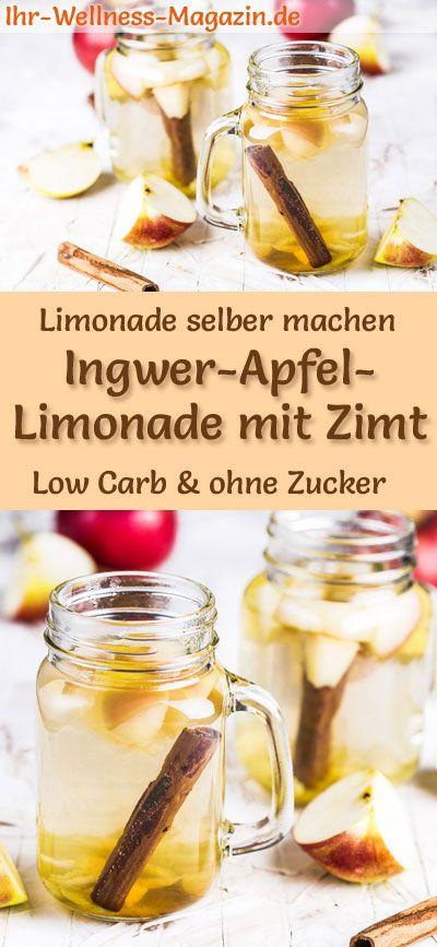 Ingwer-Apfel-Limonade mit Zimt selber machen - Low Carb & ohne Zucker #easylemonaderecipe