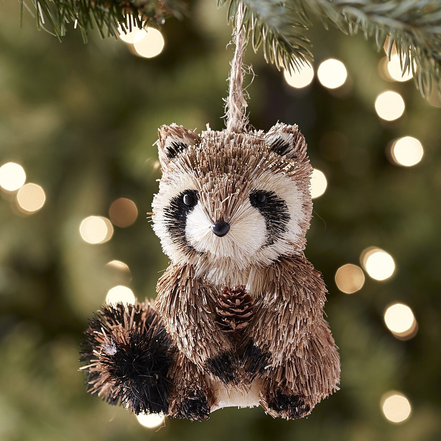 Pier 1 Natural Raccoon Ornament Woodland christmas