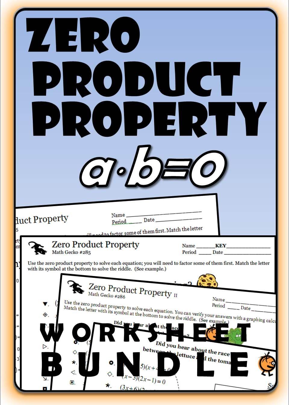 Zero Product Property Bundle Math Solving Quadratic Equations
