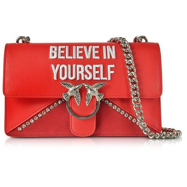 788b7a9de4 Pinko Handbags Love Believe In Yourself Red Eco Leather Shoulder Bag ( 460)  ❤ liked