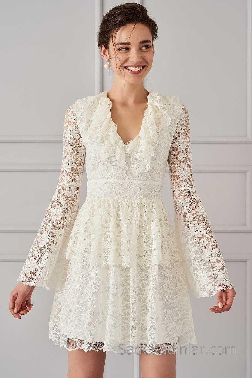 2018 Beyaz Elbise Modelleri V Yakali Uzun Kollu Firfir Dantelli Elbise Modelleri Elbise The Dress