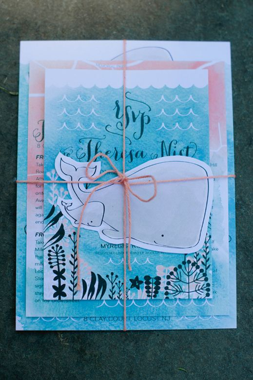 Peach Turquoise Under the Sea Baby Shower Invitations Shower