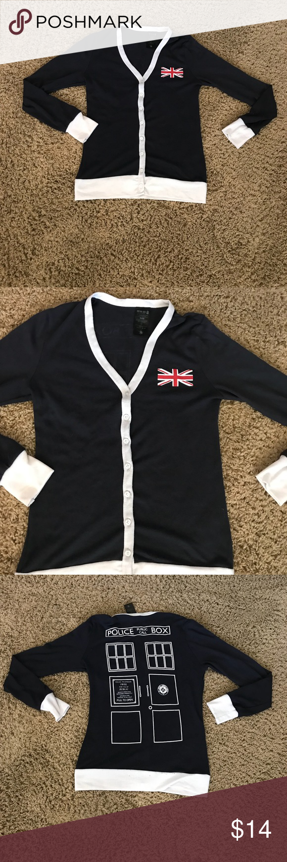 Dr Who Her Universe Police Cardigan Union Jack M Doctor