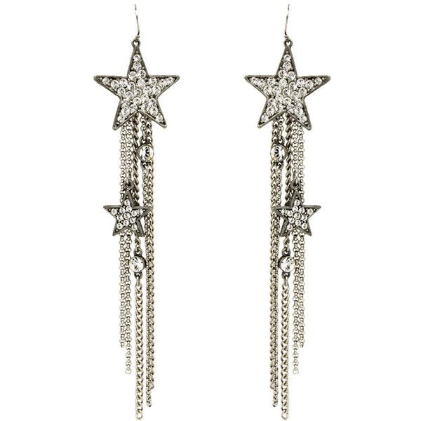 Ben Amun Star Fringe Earrings (6 265 UAH) ❤ liked on Polyvore featuring jewelry, earrings, silver, swarovski crystal pendant, swarovski crystal jewelry, pave earrings, tassle earrings and pave jewelry