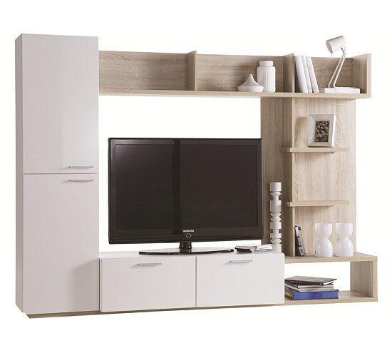 Meuble Tv Arena Blanc Et Chene Brosse Livings But Mobilier De Salon Meuble Tv Meuble Canape