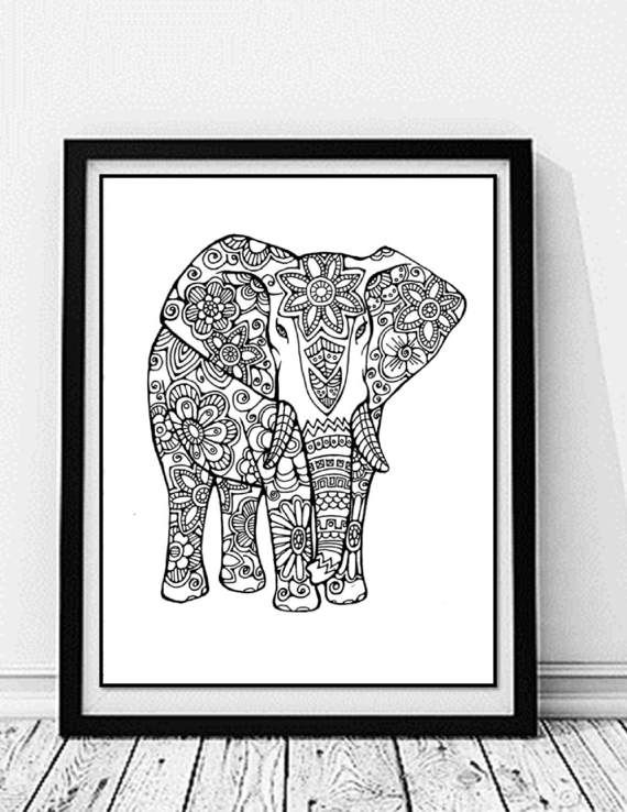 Elephant Coloring Page to Print and Color, Nature, Flowers, Adult ...
