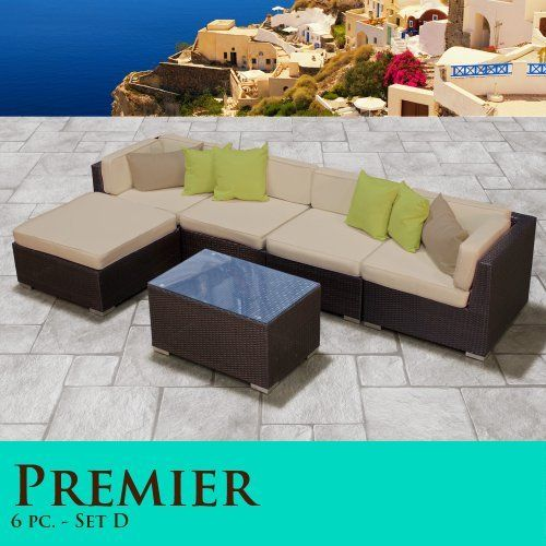 Premier Modern 6 Piece Outdoor Wicker Patio Sofa Sectional