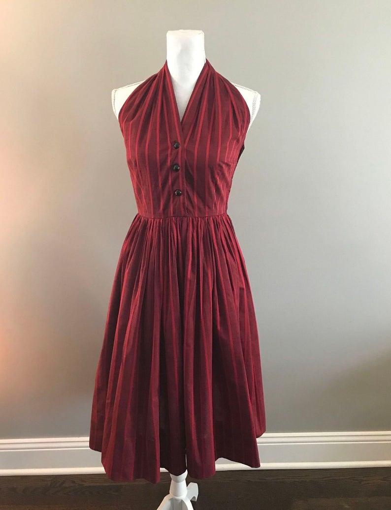 1950s Red Striped Halter Dress Handmade Etsy Striped Halter Dress Dresses Halter Dress [ 1037 x 794 Pixel ]