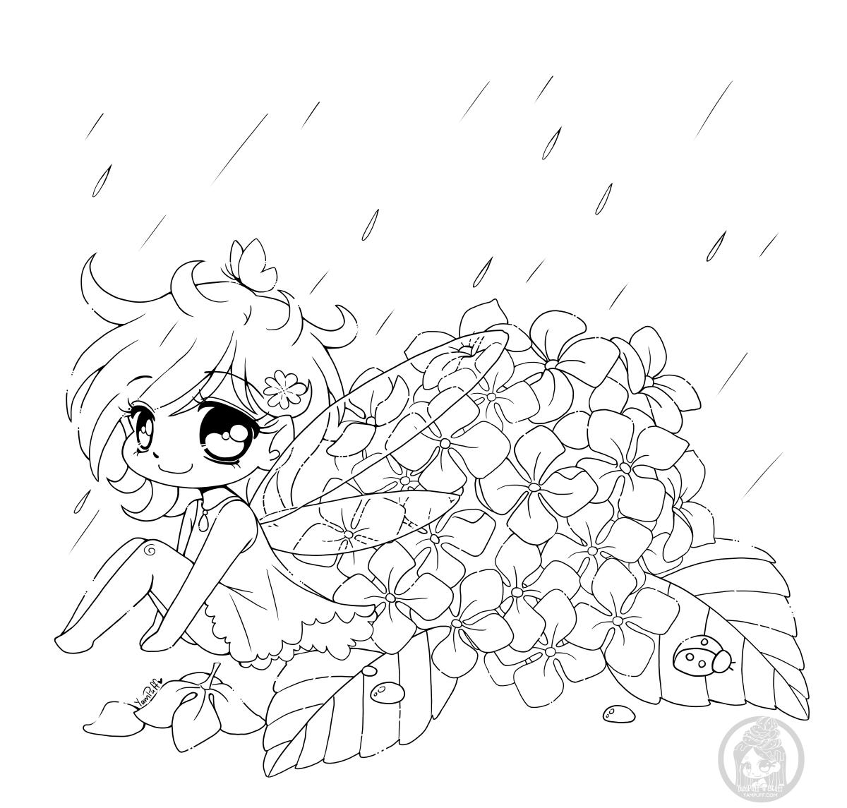 Fee Kawaii Dessin Gratuit Fleur Hydrangee A Colorier Dessin
