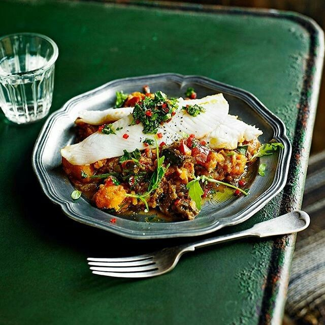 Our new monthly feature by@jamieolivercontains loads of healthy ideas to see you through the week, like this argentine-style fish with fiery chimichurri & caponata. Sea bass is super high in vitamin B12, good for brain function & making#healthyred blood cells. Plus, it tastes delicious! Recipe in our Feb issue. Thanks to@alexluckfor the