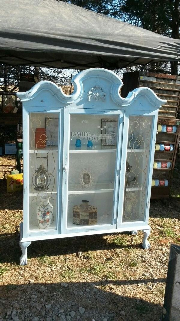 Repurposed Hutch China Cabinet Top Added Legs And Chalk