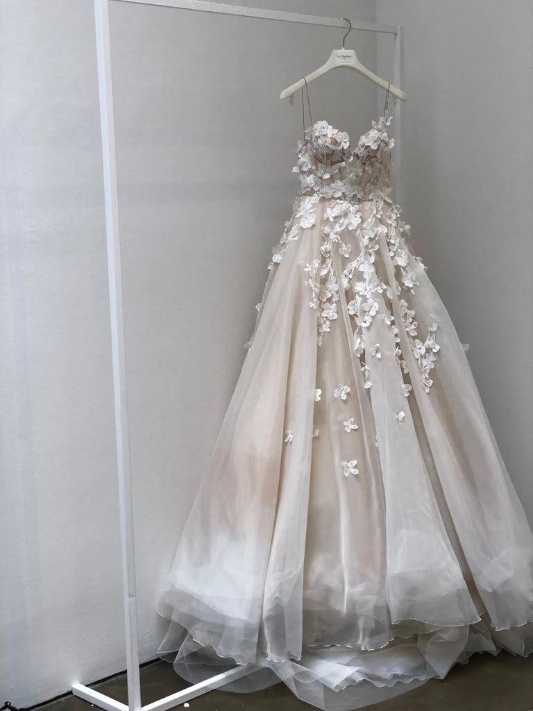 Liz Martinez 'Colette' size 8 sample wedding dress front view on hanger |  Wedding dress trends, Wedding dresses with flowers, Wedding dress champagne