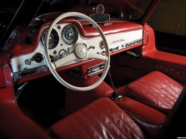 Mercedes 300 SL Love This Aged Red Leather Interior