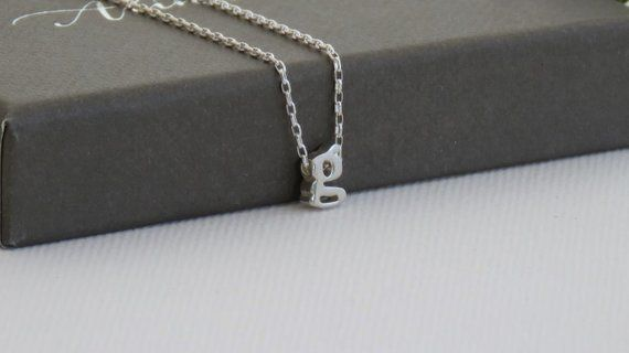3ce71bc4e 100% Sterling Silver Initial charm necklace, Silver Initial charm necklace,  Silver Lowercase Initial
