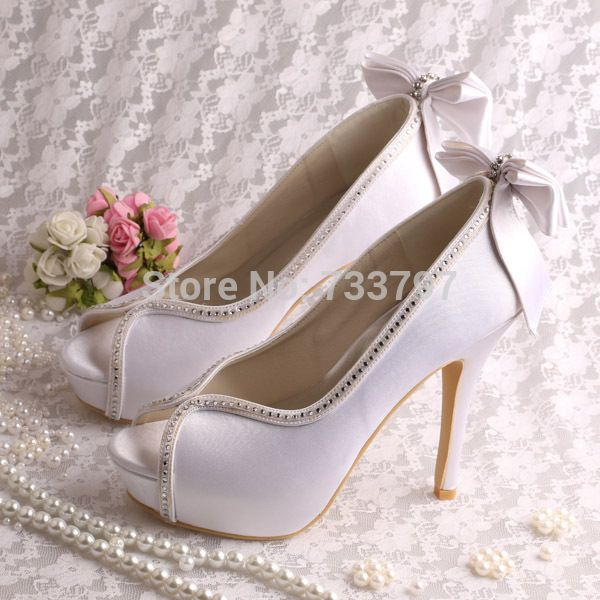 ee299fcab68 (21 Colors)Designer Peep Toe White Satin Bridal Shoes Wedding High Heel for  Women
