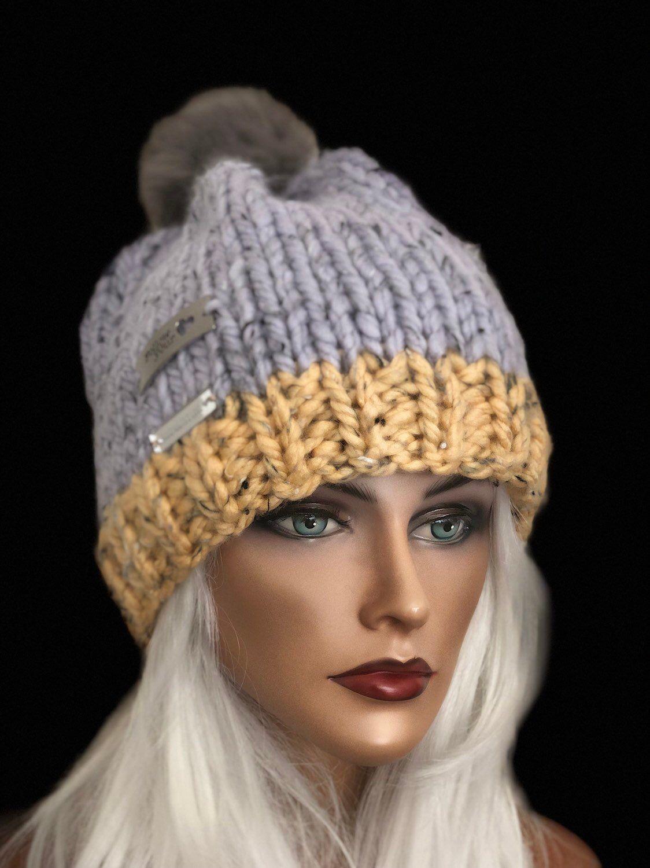 e730f73bea4 ... my  etsy shop  Hand Knits 2 Love Hag Beanie Cap Designer Fashion Tweed  Chunky Cozy Warm Winter Snow Ski Female Fsux Fur Pom Pom Gray Likac Butter  Yellow