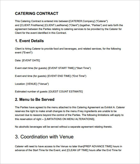 Catering Contract Template Template Pinterest Sample Resume