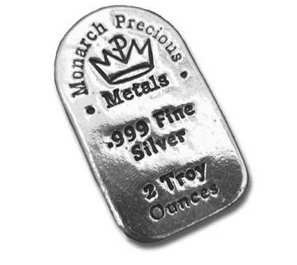 Buy Monarch Precious Metals 2oz Hand Poured Silver Bar Online At Shinybars Com We Offer Competitive Silver Bullion Prices And 24 7 Secure Ordering On All Monar