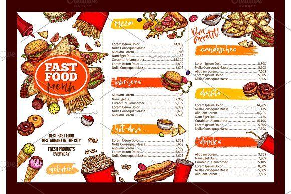 Fast Food Restaurant Menu Brochure Template Design With Images