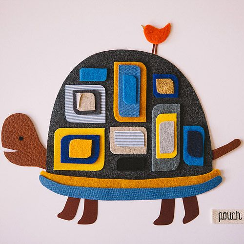 Pouch Handmade - DIY turtle with cut-out fabrics <3
