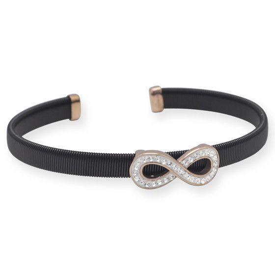 Black Tone Stainless Steel Infinity Cuff Bracelet