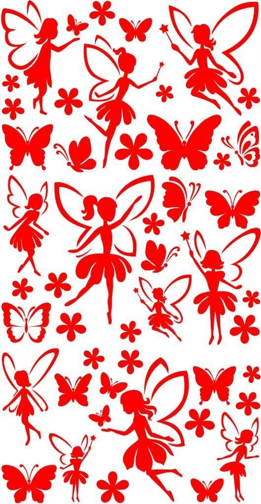 Fairies with Butterflies & Flowers Wall Sticker Pack - Cut & Place ...