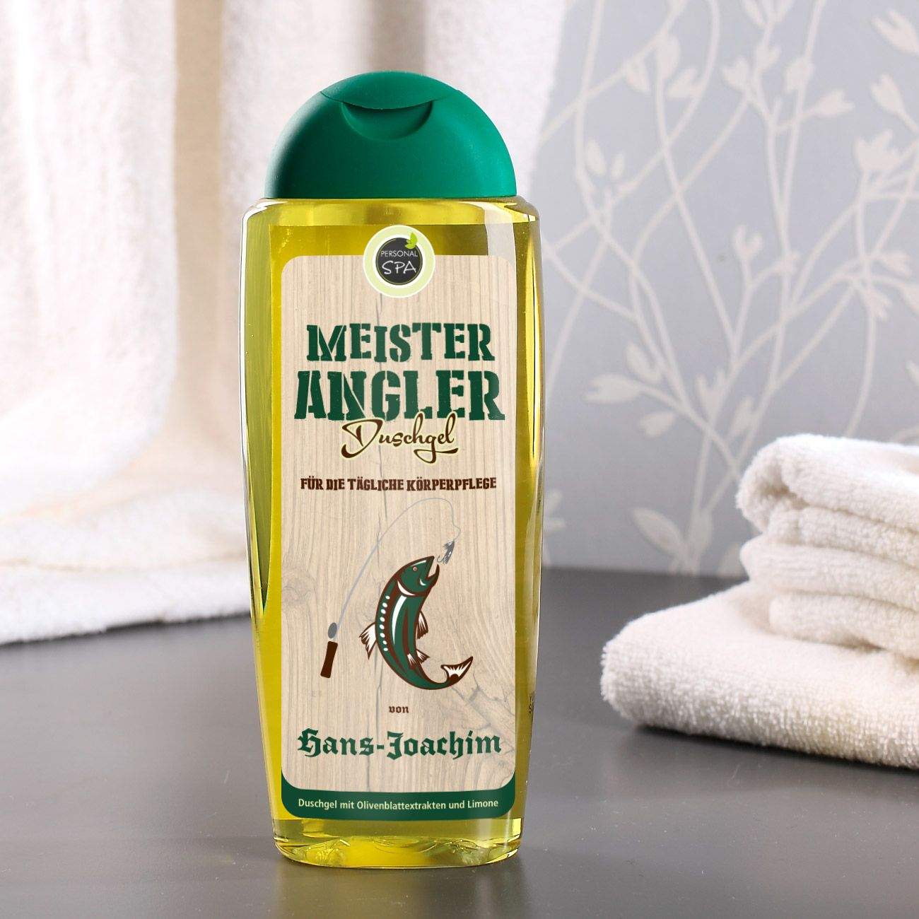 Duschgel für den Meister Angler mit Wunschname Geschenk