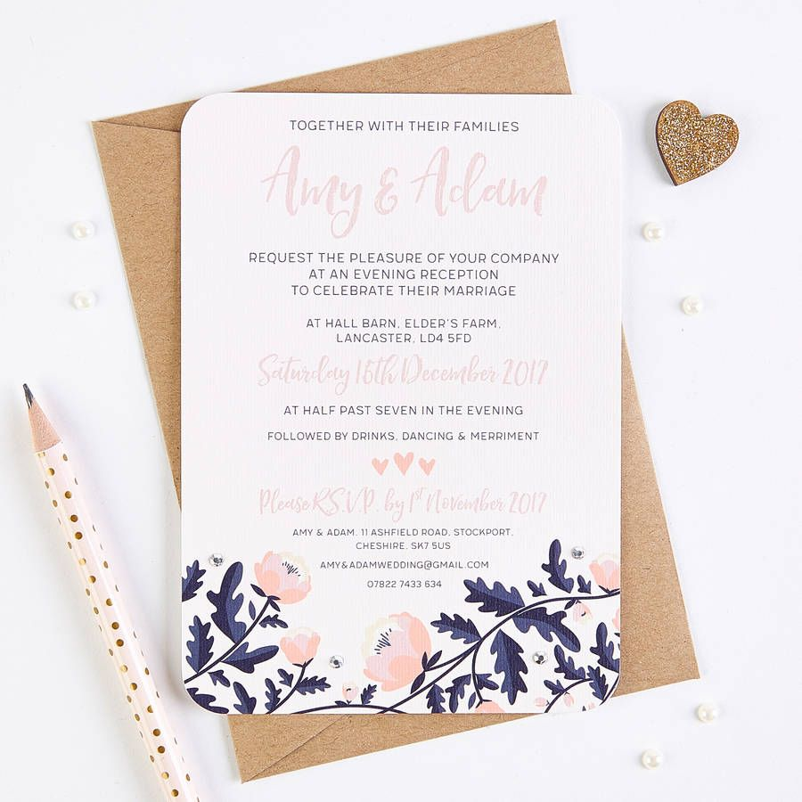 Blush And Navy Floral Evening Invite With Gems | Navy weddings ...