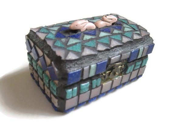 Jewelry box Glass Mosaic Mosaic Box Blue Teal Pink Keepsake Box
