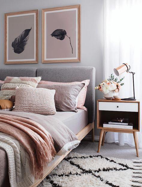 Chouette idee deco chambre adulte rose et gris, amenagement petite ...