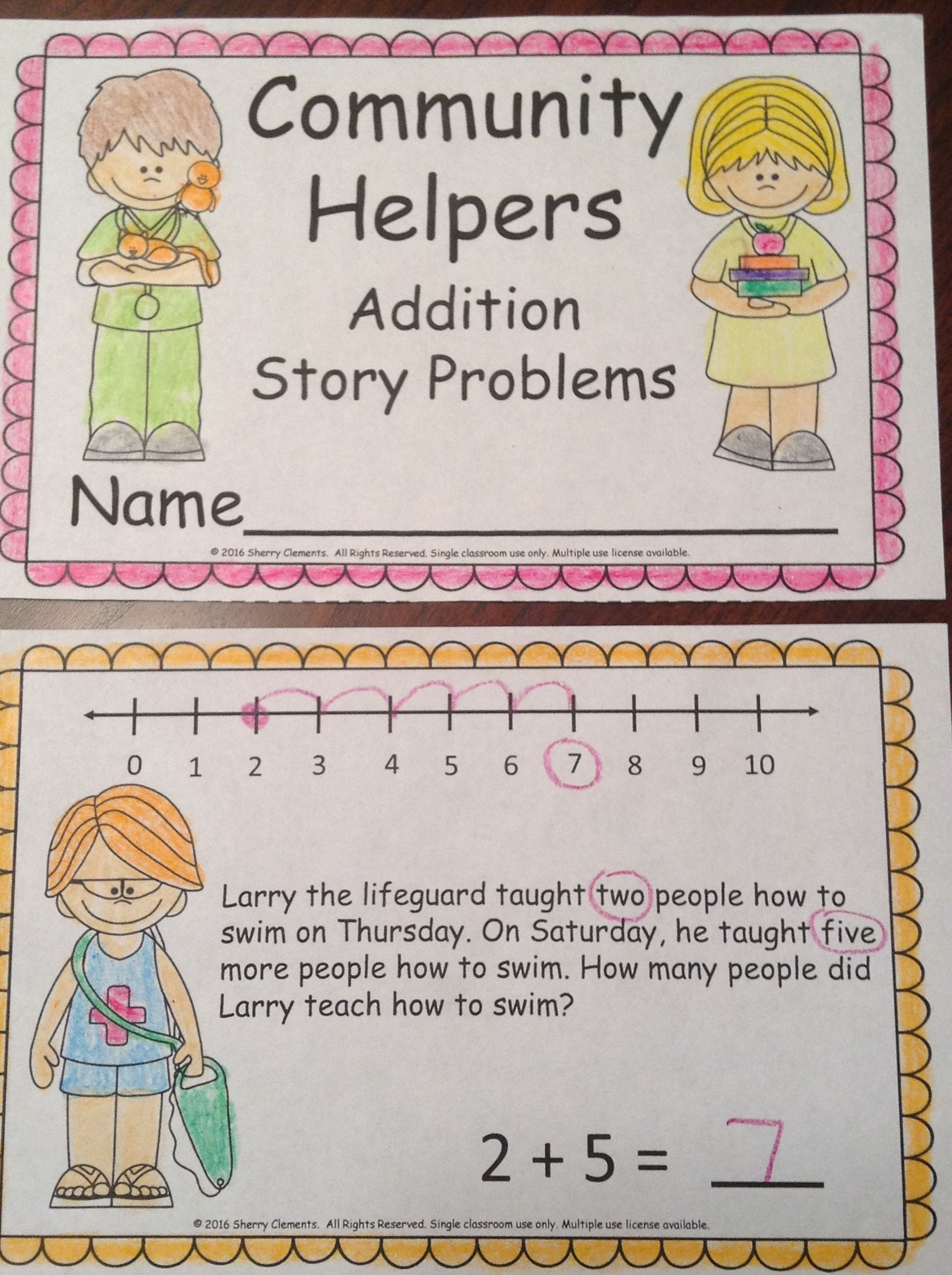 Community Helpers Addition Story Problems Book
