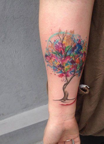 21 Realistic Watercolor Tattoo Designs And Ideas For Women Tree