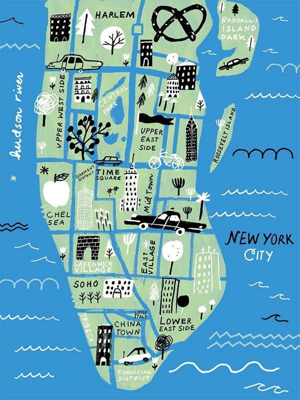 Simple Map Of New York City.Maps Illustrated Simple Grid Block Colour Pattern