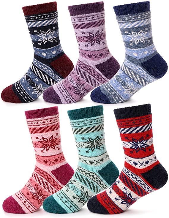 Girls Thick Wool Socks Kids Warm Socks Winter Thermal Crew Socks 6 Pack