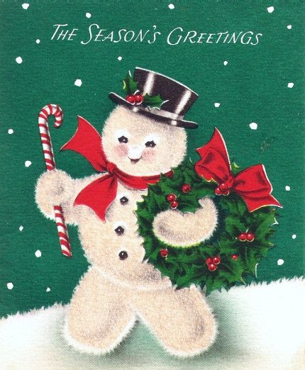 Vintage Christmas Card Snowman Candy Cane Wreath by PaperPrizes