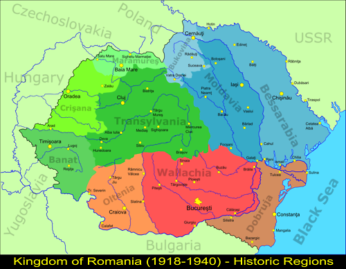 Map of the regions of Greater Romania, 1918-1940 | Maps | Pinterest ...