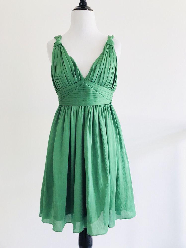 4a7830cd27c BCBG Womens Green Dress Size 4 Empire Waist Pleated Fit   Flare Vneck  Sleeveless  BCBGeneration  springishere  springstyle