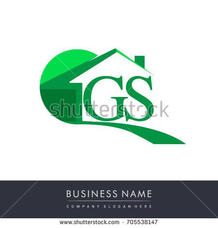 Gs Letter Roof Shape Logo Green Initial Ab With House Icon Business