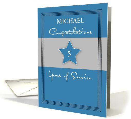 Customizable Employee Anniversary Service Blue Gray Name And Years Card Work Anniversary Cards Work Anniversary Birthday Cards Diy