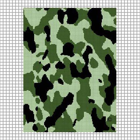 Camouflage Green Afghan Crochet Pattern Emailed Afghan