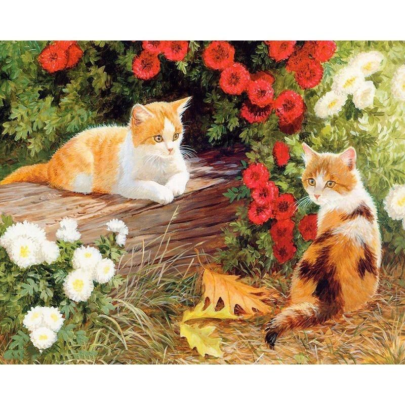 Kittens in a garden diy painting by numbers kits